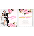 Wedding cartoon invitation card in luxury and mode vector image