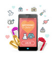 wedding planner concept mobile phone app vector image