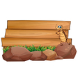 A cockroach above a rock with an empty wooden vector image vector image
