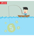 Cartoon businessman catching money in the sea - vector image