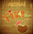 Retro Design Tiki Bar Menu on wooden background vector image