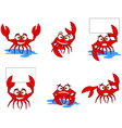 funny red crabs cartoon collection vector image