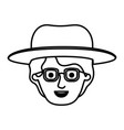 male face with glasses and short hair and hat in vector image