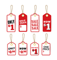 Retail Sale Tags Price and One price label vector image