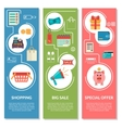 Three vertical banners with shopping icons in flat vector image