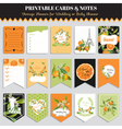 Vintage Orange Flowers Card Set Birthday vector image vector image