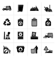 Black Garbage cleaning and rubbish icons vector image vector image