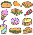 food various collection of doodles vector image