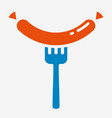sausage on the fork icon vector image
