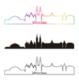 Wroclaw skyline linear style with rainbow vector image