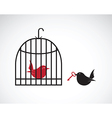 image of a bird in the cage and outside the cage a vector image