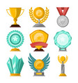 golden trophy cups and awards set vector image