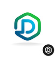 Letter D in a hex shape one line style logo vector image