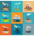 Modern industrial flat buildings set vector image