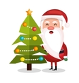 santa claus and tree merry christmas design vector image
