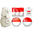 Singapore flag and symbol vector image