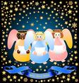 three Christmas angels vector image