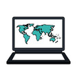 white background with laptop computer with vector image