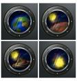 Four round portholes vector image