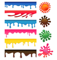 Seamless colored drips and blotches set vector image vector image