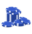 A group of blue poker chips vector image