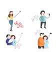 Selfie of people with smartphones vector image