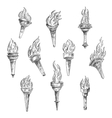 Burning torches in vintage sketch style vector image vector image