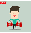Businessman carry suitecase with 50 percent off - vector image