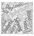 Carbohydrate Counting Diet Word Cloud Concept vector image