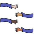 Cartoon hands stretch towards each other arms vector image