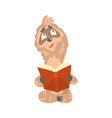 cute cartoon sloth character reading a book funny vector image