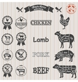 diagram cut carcasses of chicken pig cow vector image
