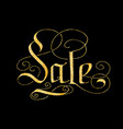 sale of glitter golden hand lettering vector image