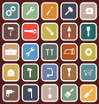 Tool flat icons on red background vector image