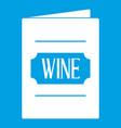 wine list icon white vector image