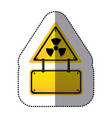 Yellow metal emblem warning radiation notice sign vector image