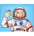 young astronaut girl in a space suit waving her vector image