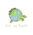 hand drawn cartoon earth vector image vector image