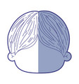 blue shading silhouette of faceless head of little vector image