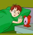 boy waking up cartoon vector image