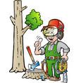 cartoon of a happy working lumberjack or vector image