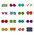 check mark icons doodle set vector image
