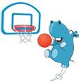 Cute Hippo Basketball Player vector image