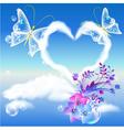 Heart cloud and butterflies vector image