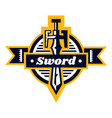 sword logo located on the shield lettering on a vector image