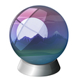 A dome with a full moon and mountains inside vector image vector image