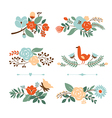 set of Botanical graphic elements vector image