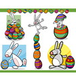 easter themes set cartoon vector image vector image