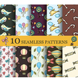 set of 10 child seamless pattern vector image