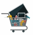 Appliances in a shopping cart vector image